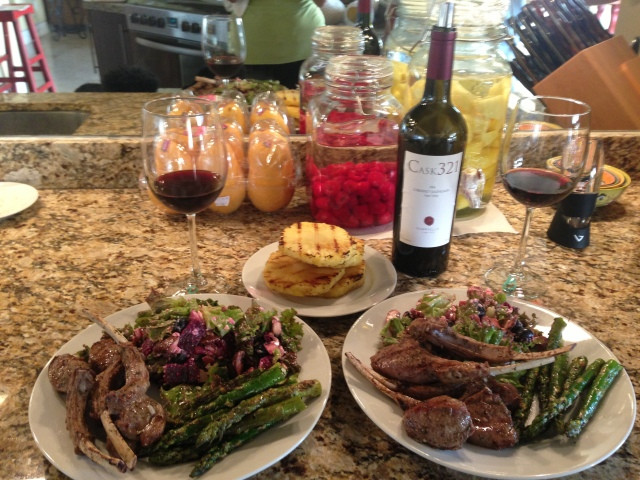 Lamb grilled to perfection!  Some of our infused vodka in the background for another day!